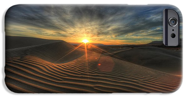 Sand Dunes Pyrography iPhone Cases - Sand Dunes in Death Valley  iPhone Case by Katrina Brown