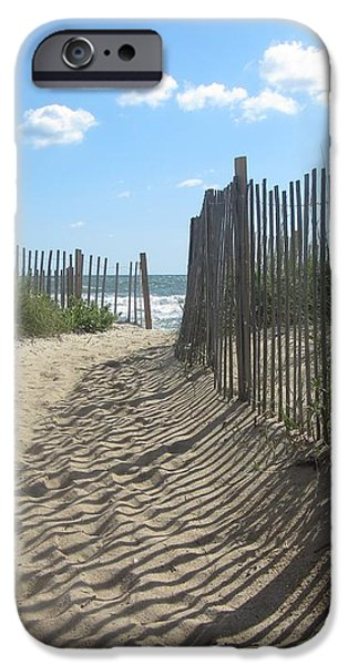Sand fence at Southern Shores  iPhone Case by Cathy Lindsey