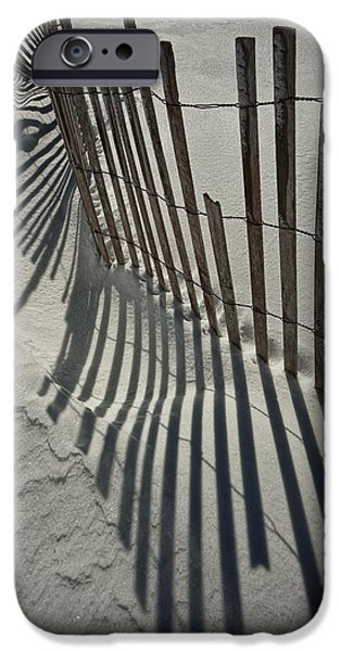 Snow Drifts Photographs iPhone Cases - Sand Fence during Winter on the Beach iPhone Case by Randall Nyhof