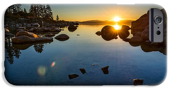 Rocks iPhone Cases - Sand Harbor Sunset iPhone Case by Jamie Pham