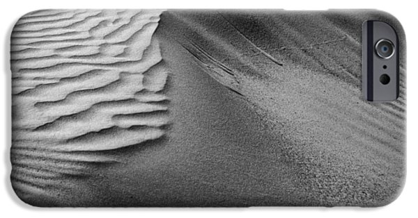 Natural Forces iPhone Cases - Sand Pattern Abstract #2 - Black and White iPhone Case by Nikolyn McDonald