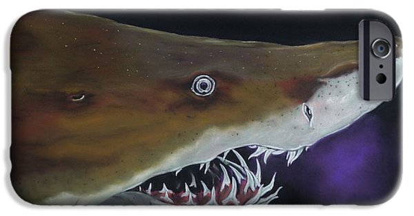 Shark Pastels iPhone Cases - Sand Tiger Shark iPhone Case by Kevin Hubbard