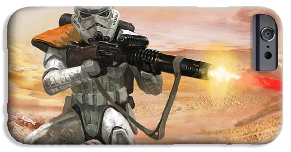 Stars iPhone Cases - Sand Trooper - Star Wars the Card Game iPhone Case by Ryan Barger