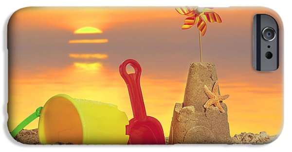 Sand Castles iPhone Cases - Sandcastle At Sunset iPhone Case by Amanda And Christopher Elwell