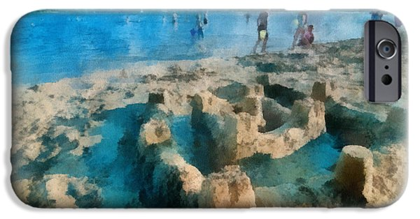 Sandcastle iPhone Cases - Sandcastle on the Beach iPhone Case by Amy Cicconi