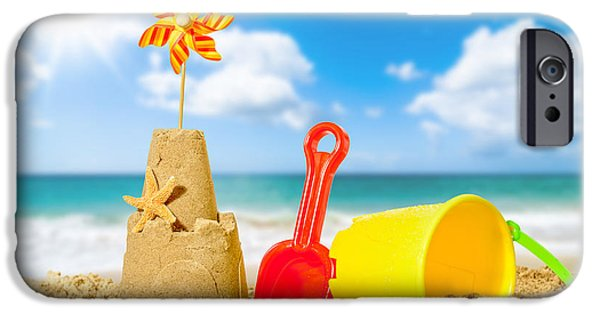 Sandcastles iPhone Cases - Sandcastle On The Beach iPhone Case by Amanda And Christopher Elwell