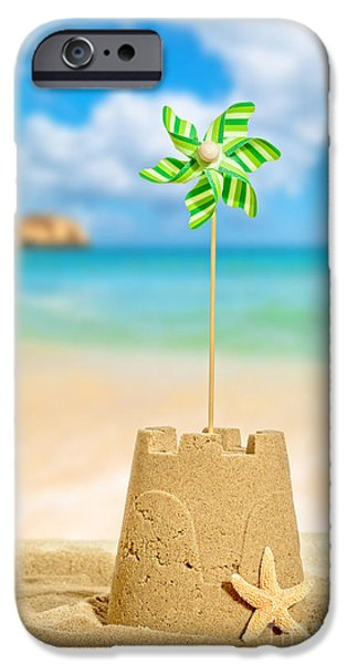 Sandcastles iPhone Cases - Sandcastle With Pinwheel iPhone Case by Amanda And Christopher Elwell
