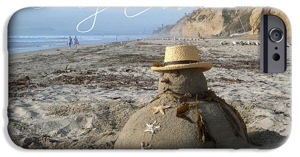 California Beach iPhone Cases - Sandman Snowman iPhone Case by Mary Helmreich
