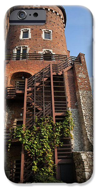 Wooden Stairs iPhone Cases - Sandomierska Tower at Wawel Castle in Krakow iPhone Case by Artur Bogacki