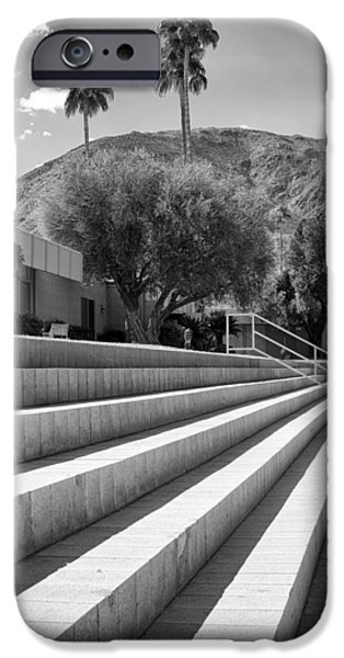 Lawn Chair iPhone Cases - SANDPIPER STAIRS BW Palm Desert iPhone Case by William Dey