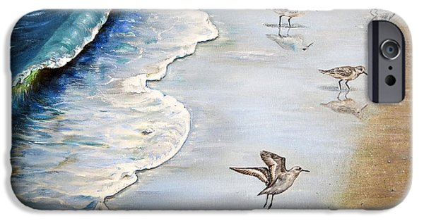 Original iPhone Cases - Sandpipers on the beach iPhone Case by Zina Stromberg