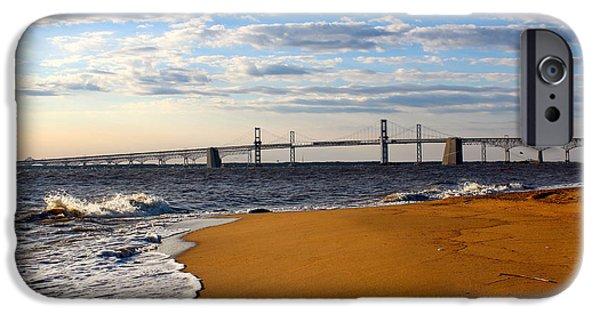 Bay Bridge iPhone Cases - Sandy Bay Bridge iPhone Case by Jennifer Casey