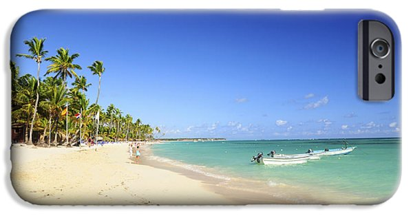 Pristine iPhone Cases - Sandy beach on Caribbean resort  iPhone Case by Elena Elisseeva