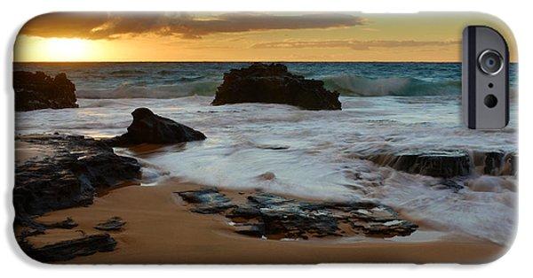 Morning iPhone Cases - Sandy Beach Sunrise 7 - Oahu Hawaii iPhone Case by Brian Harig