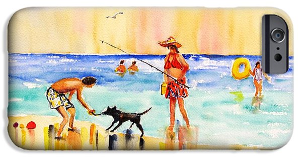 Women Together iPhone Cases - Sandy Dog at the Beach iPhone Case by Carlin Blahnik