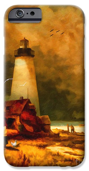 Lighthouse iPhone Cases - Sandy Hook Lighthouse - after Moran iPhone Case by Lianne Schneider