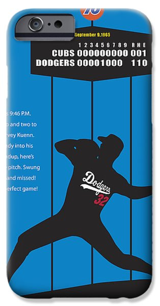 Mounds Digital iPhone Cases - Sandy Koufax Perfect Game iPhone Case by Ron Regalado
