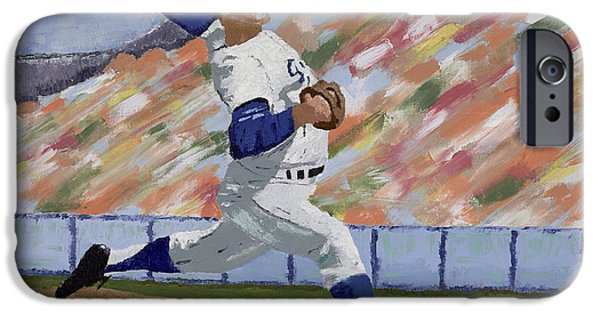 Baseball Stadiums Paintings iPhone Cases - Sandy Koufax iPhone Case by Ron Gibbs