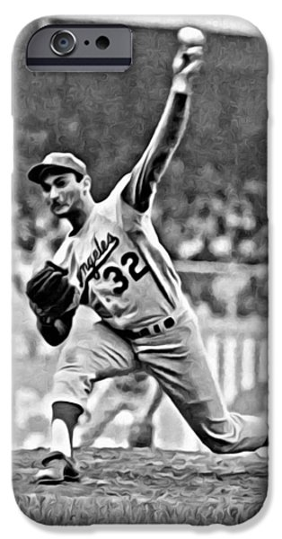 Mlb iPhone Cases - Sandy Koufax Throwing the Ball iPhone Case by Florian Rodarte