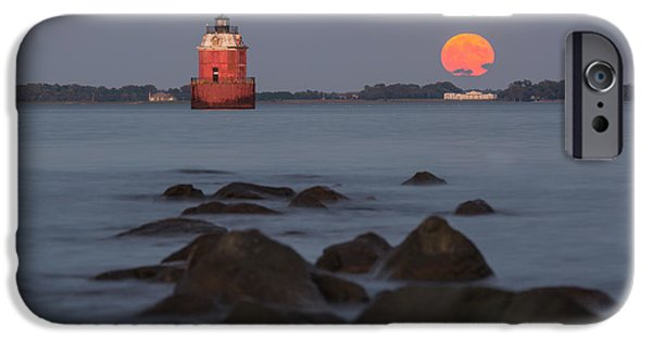 House Md iPhone Cases - Sandy Point Lighthouse Moonrise iPhone Case by Jennifer Casey