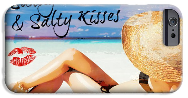 Bathing Mixed Media iPhone Cases - Sandy Toes n Salty Kisses iPhone Case by Mindy Bench