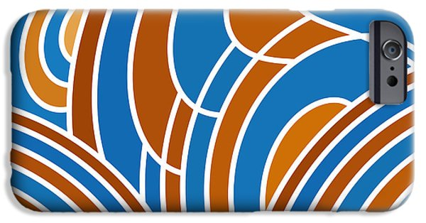 Sienna iPhone Cases - Sanguine And Blue Abstract iPhone Case by Frank Tschakert