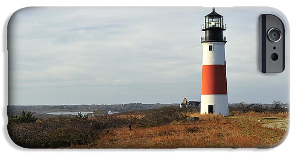 New England Lighthouse iPhone Cases - Sankaty Head Lighthouse Nantucket in Autumn Colors iPhone Case by Marianne Campolongo