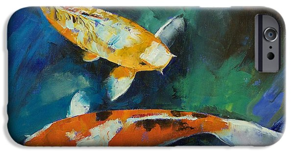 Koi Paintings iPhone Cases - Sanke Koi Painting iPhone Case by Michael Creese