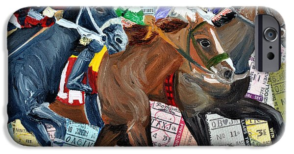 Horse Racing Mixed Media iPhone Cases - Santa Anita iPhone Case by Michael Lee