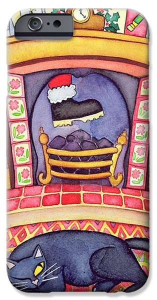 Father Christmas iPhone Cases - Santa Arriving Down The Chimney iPhone Case by Cathy Baxter