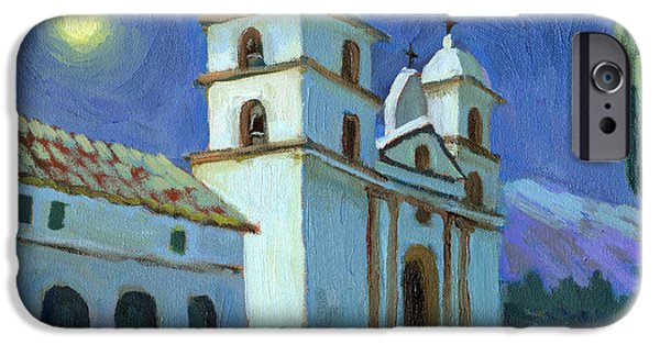 Santa Barbara iPhone Cases - Santa Barbara Mission Moonlight iPhone Case by Diane McClary