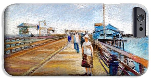 Beach Landscape Pastels iPhone Cases - Santa Barbara Pier iPhone Case by Filip Mihail