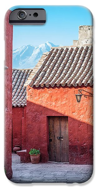 Catherine White Photographs iPhone Cases - Santa Catalina Monastery and Volcano iPhone Case by Jess Kraft