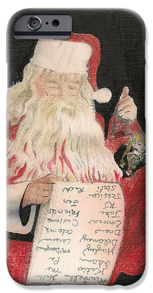 Christmas Eve Drawings iPhone Cases - Santa - Checking His List - Christmas iPhone Case by Jan Dappen