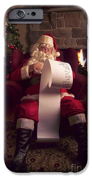 Santa iPhone Cases - Santa Checking HIs List iPhone Case by Diane Diederich