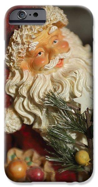 Saint Nick iPhone Cases - Santa Claus - Antique Ornament - 18 iPhone Case by Jill Reger