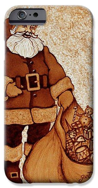 Santa Claus Bag iPhone Case by Georgeta  Blanaru