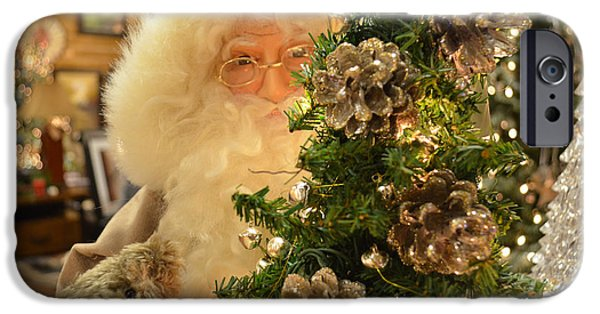 Santa iPhone Cases - Santa Claus Is Watching You iPhone Case by Luther   Fine Art