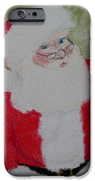 Santa Pastels iPhone Cases - Santa Claus iPhone Case by Joan Pye