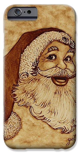 Santa Claus Joyful Face iPhone Case by Georgeta  Blanaru