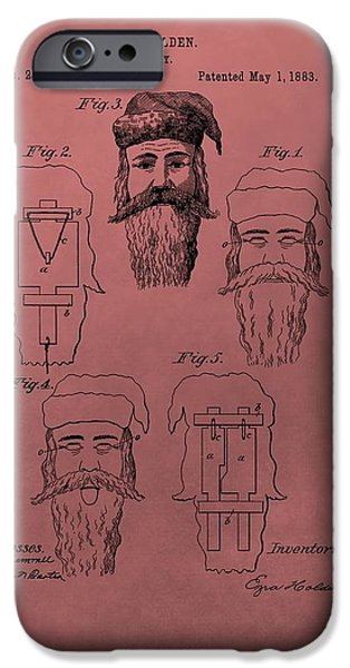 Christmas Eve iPhone Cases - Santa Claus Mask Patent iPhone Case by Dan Sproul