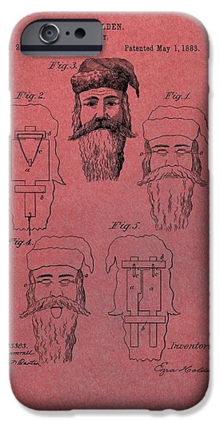 Christmas Eve iPhone Cases - Santa Claus Mask Patent Red iPhone Case by Dan Sproul