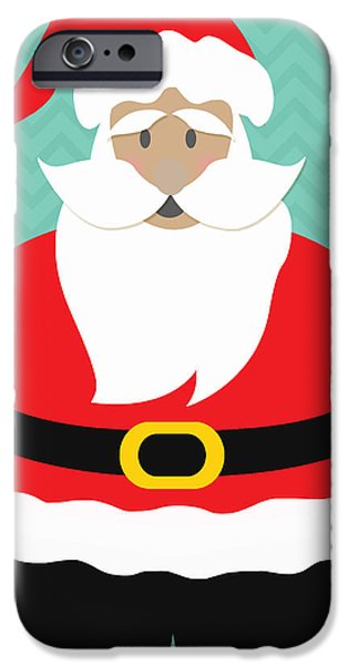 Christmas Mixed Media iPhone Cases - Santa Claus with Medium Skin Tone iPhone Case by Linda Woods