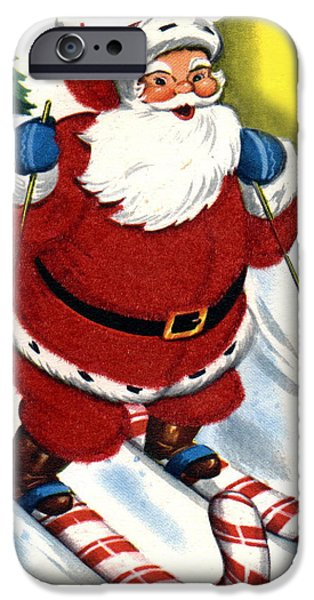 Santa Digital iPhone Cases - Santa Clause Skiing iPhone Case by Unknown