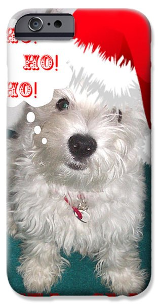 Westie Digital iPhone Cases - Santa Claws iPhone Case by Charmaine Zoe