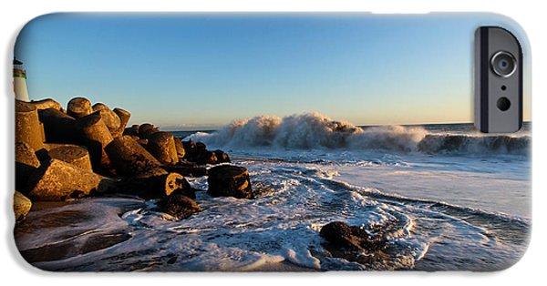 Santa Pyrography iPhone Cases - Santa Cruz Beach Boardwalk iPhone Case by Brittney Reynolds
