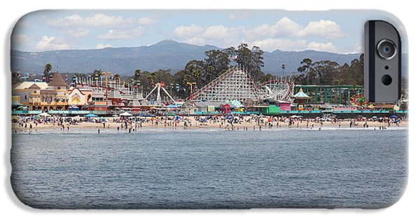 Santa Cruz Ca iPhone Cases - Santa Cruz Beach Boardwalk California 5D23799 iPhone Case by Wingsdomain Art and Photography