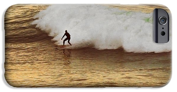 Frosty Hensen iPhone Cases - Santa Cruz Surfing at the Golden Hour iPhone Case by Artist and Photographer Laura Wrede