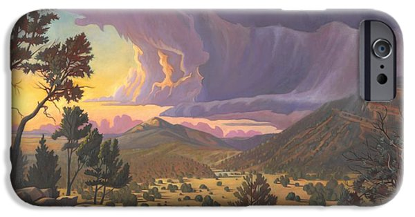 Pinion Paintings iPhone Cases - Santa Fe Baldy iPhone Case by Art James West