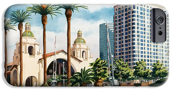 Mission iPhone Cases - Santa Fe Depot San Diego iPhone Case by Mary Helmreich
